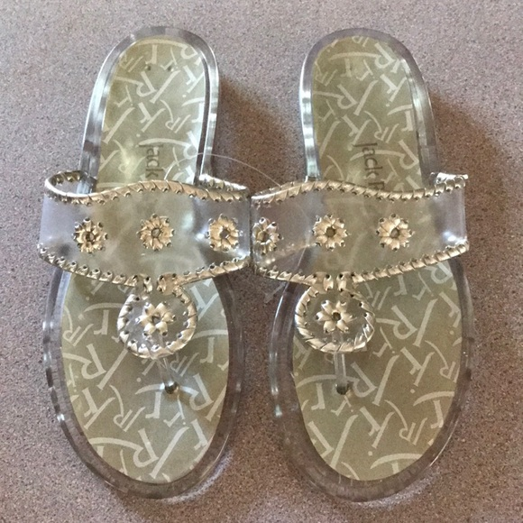 0181505d2f14ab Jack Rogers Navajo Platinum Clear Sandals 8 NEW
